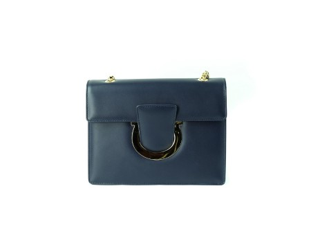 Shop SALVATORE FERRAGAMO  Bag: Ferragamo Thalia blue leather bag. Closing with Ferragamo hook. Shoulder strap in chain sliding that makes the bag wearable on your shoulder or by hand. Two compartments. Size: width: 20cm; height: 16cm; depth: 3,5cm. Made in Italy.. 21G671 THALIA-675452