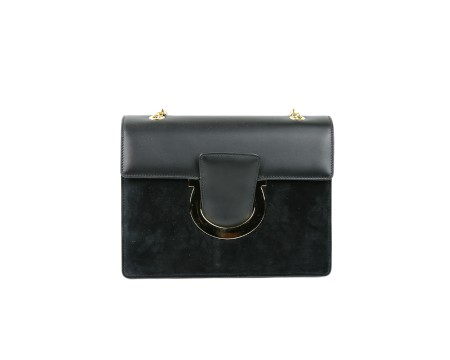 Shop SALVATORE FERRAGAMO  Bag: Ferragamo Thalia black suede and leather bag. Closing with Ferragamo hook. Shoulder strap in chain sliding that makes the bag wearable on your shoulder or by hand. Two compartments. Size: width: 20cm; height: 16cm; depth: 3,5cm. Made in Italy.. 21G671 THALIA-679643