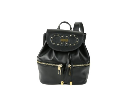 Shop SALVATORE FERRAGAMO  Backpack: Ferragamo black leather backpack with golden bosses. Closing with button. Frontral flap with Ferragamo logo and trademark. Double frontalk pocket with zip. Adjustable back strap. Size: width: 26cm; height: 28cm; depth: 14,5cm. Made in Italy.. 21G772 JAM-680657