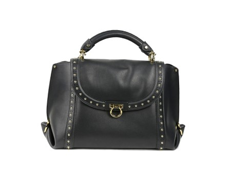 Shop SALVATORE FERRAGAMO  Bag: Ferggamo Sofia black leather bag with bosses. Closing with iconic hook. Black leather handle. Double lateral hook. Applications on the basis to protect the leather. Size: width: 33cm; height: 24cm; depth: 16cm. Made in Italy.. 21G805 SOFT SOFIA-681060
