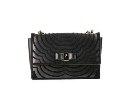 Shop SALVATORE FERRAGAMO  Bag: Ferragamo Ginny black leather bag. Floral pattern. Vara bow. Shoulder strap in chain. Made in Italy.. 21G811 GINNY -681090