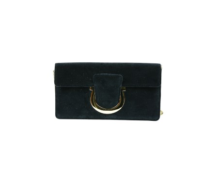 Shop SALVATORE FERRAGAMO  Bag: Ferragamo blue suede Thalia bag. Closing with Ferragamo hook. Shoulder stap in chain removable. Size: width: 24cm; height: 13cm; depth: 3cm. Made in Italy.. 21G862 THALIA-681966