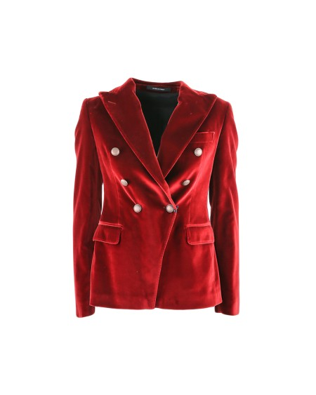 Shop TAGLIATORE 0205 Sales Jacket: Tagliatore red velvet double-breasted jacket. Closing with silver buttons. Double lateral pocket with flap. Split on the backside. 70% cotton 28% viscose 2% elastane. Made in Italy.. JALICYA80042-C1412