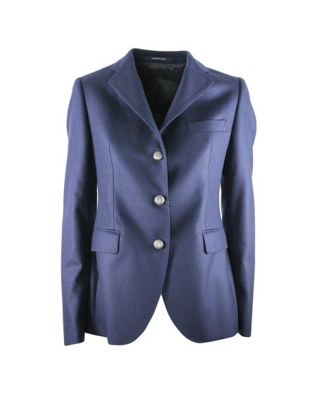 Shop TAGLIATORE 0205 Sales Jacket: Tagliatore blu jacket. Closing with silver buttons. Double lateral pocket with flap. Lateral breast pocket. Split on the backside. 100% virgin wool. Made in Italy. JFDL23B07160-B1145