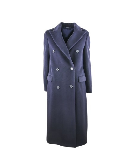 Shop TAGLIATORE 0205 Sales Overcoat: Tagliatore double-breasted blue coat. Closing with silver buttons. Double lateral pocket with flap. Split on the backside. 60% alpaca 40% virgin wool. Made in italy.. JOLE77107-B1087