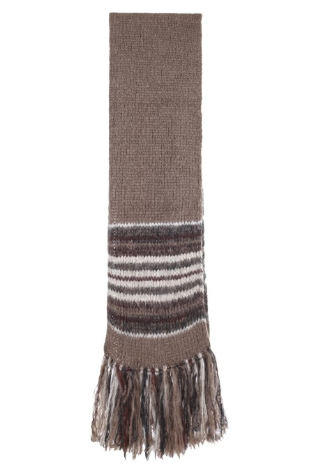 Shop BRUNELLO CUCINELLI  Scarf: Brunello cucinelli Folk stripes mohair and wool knit scarf. Scarf measures approx. 38 cm x 245 cm. Nickel-free monili decoration. Composition: 81% mohair, 11% nylon, 8% wool. Made in Italy.. M1U311389 -CW820