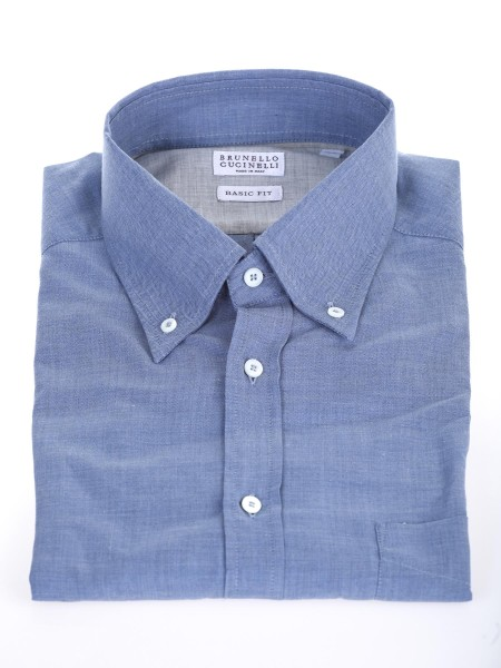 Shop BRUNELLO CUCINELLI  Camicia: Brunello Cucinelli Camicia celeste button down. Basic fit. Composizione: 100% cotone. Made in Italy.. MG6710068-C015