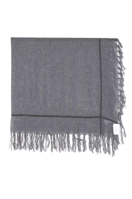 Shop BRUNELLO CUCINELLI  Scarf: Brunello Cucinelli Cashmere scarf with monili. Composition: 135 cm x 118 cm. Nickel-free monili decoration. Composition: 100% cashmere. Made in Italy.. MSCDAB102-CA546
