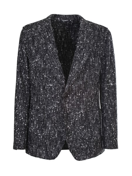 2d68df6a00be1 Shop DOLCE   GABBANA Jacket  Dolce   Gabbana Black and white knitted blazer  in alpaca ...