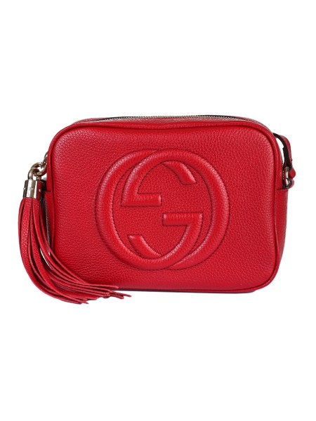 Shop GUCCI  Bag: Gucci red small Soho Discobag bag in leather. GG embroidered detail. Adjustable shoulder belt. Zip closing. Red leather tassel with gold detail. Interior in cotton and linen with two pockets. Size: Width: 21cm; Height: 15cm; Depth: 7cm. Made in Italy.. 308364 A7M0G-6523