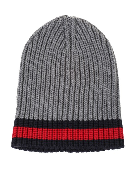 Shop GUCCI  Hat: Gucci ribbed grey wool hat with blue and red Web detail. Composition: 100% wool. Made in Italy.. 429753 4G206-1100