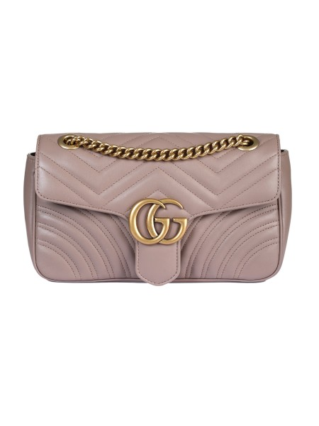 "Shop GUCCI  Bag: Gucci shoulder bag "" Marmont GG "" in powder pink matelassé leather worked on chevron and heart on the back. Oversized flap closure finished with double G. Antique gold-colored finishes. Inside open pocket for large mobile phones. The sliding chain shoulder strap can be worn as a shoulder strap, height (light) 55cm, or with double handles, height (light) 30cm. Flap with spring closure. Dimensions: Length: 26cm Height: 15cm Depth: 7cm. Microfibre lining with suede effect finishes. Made in Italy.. 443497 DTDIT -5729"