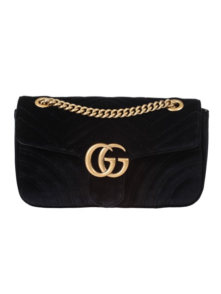 Shop GUCCI  Bag: Gucci Marmont GG bag, small, in black velvet with chevron pattern and heart. Antique gold-colored finishes. Double G. Inside pocket with zipper. The sliding chain shoulder strap can be worn as a shoulder strap, height (light) 55cm, or with double handles, height (light) 30cm. Flap with spring closure. Dimensions small measure: Length 26 cm Height 15 cm Depth 7 cm. Silk lining. Made in Italy.. 443497 K4D2T -1000