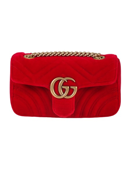 Shop GUCCI  Bag: Gucci Marmont mini GG bag in red velvet with chevron pattern and heart on the back. Antique gold-colored metal finishes. Double G. Detail Inside open pocket for large mobile phones. The sliding chain shoulder strap can be worn as a shoulder strap, height (light) 55cm, or with double handles, height (light) 30cm. Flap with spring closure. Dimensions Measure mini: Length 22 cm Height 13 cm Depth 6 cm. Silk lining. Made in Italy.. 446744 K4D2T-6433