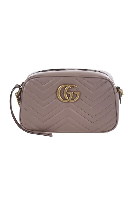 "Shop GUCCI  Bag: Gucci small GG ""Marmont"" chain shoulder bag. Beige matelassé chevron leather with GG on the back. Antique gold-toned hardware. Double G. Internal open pocket. Chain shoulder 60cm. Zip top closure. Size: Length24cm x Height13cm, Depth7cm. Microfiber lining with a suede-like finish. Made in Italy.. 447632 DTD1T -5729"