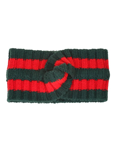 Shop GUCCI  Scarf: Gucci knitted wool hair band with green and red Web detail. Front node. Composition: 81% wool, 14% polyester, 4% polyamide and 1% elastane. Made in Italy. 457838 3G262-3174