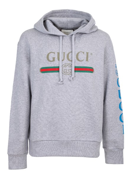 Shop GUCCI  Sweatshirt: Gucci sweatshirt in faded grey cotton jersey with délavé effect. Gucci vintage logo. Print Gucci logo with GG on one sleeve. Embroidered dragon application. Fixed hood. Composition: 100% cotton. Made in Italy.. 475374 X9V46-1111