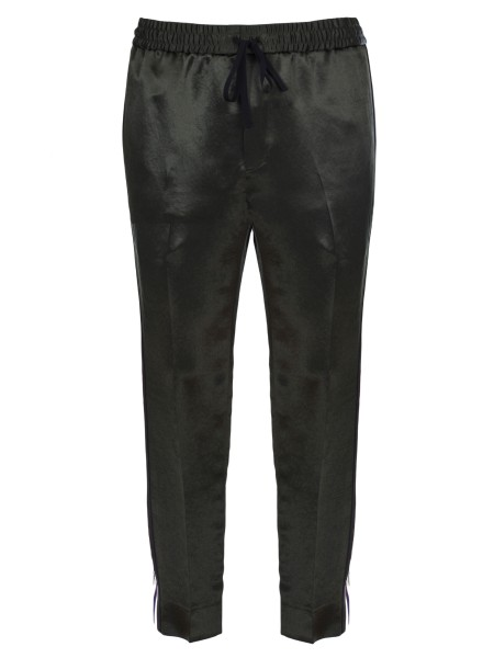 Shop GUCCI  Trousers: Gucci jogging pants in dark green acetate. Gucci jacquard ribbon on the leg. Front pockets on seam. Back pockets with flap and button closure. Elasticated belt with drawstring. Ankle length. Trousers: Leg bottom 38 cm. Composition: 100% acetate. Made in Italy.. 495697 Z791A -3230