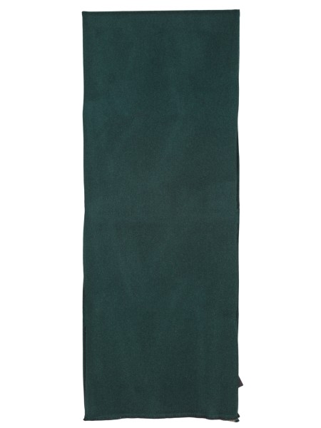 Shop GUCCI  Scarf: Gucci scarf in wool and silk, green on one side and GG brown and beige on the other. Dimensions: width 35 cm length 180 cm. Composition: 95% wool 5% silk. Made in Italy.. 521104 4G744-3100