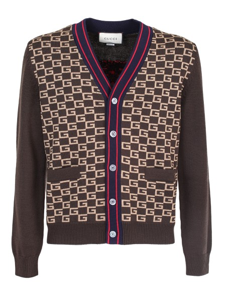 Shop GUCCI  Cardigan: Gucci cardigan in ebony wool and camel with G pattern Jacquard pattern. Red and blue finishes on the closure. Tiger head inlaid on the back. Mother of pearl buttons. Ribbed finishes. Front pockets. Composition: 100% wool. Made in Italy.. 522543 X9U22-2097
