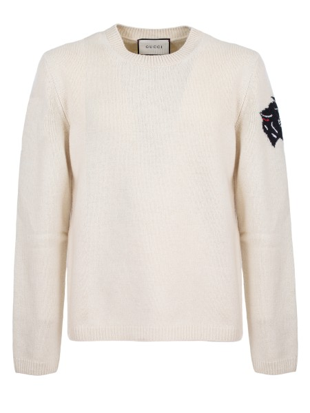 Shop GUCCI  Pullover: Gucci crew-neck sweater, white, in wool. Tiger head embroidered on the left sleeve. Ribbed hem and cuffs. Composition: 100% wool. Made in Italy.. 522644 X9U82-9101