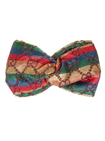 Shop GUCCI  Scarf: Gucci hair band, with GG pattern in velvet, in rainbow striped lurex. Knot detail. Elasticized detail. Red polyester lining. Made in Italy.. 523785 3GA67-9888