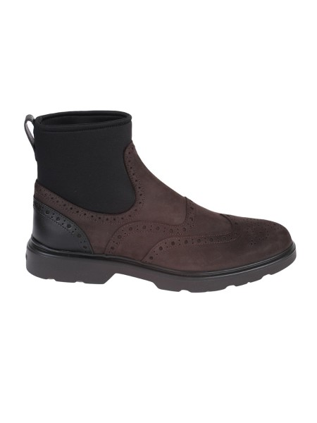 Shop HOGAN Sales Shoes: Hogan H304 leather ankle boot with holes and insole in memory foam. Leather upper. Scuba effect fabric inserts. English dovetail holes. Internal memory foam insole. Rubber sole. Made in Italy.. HXM3930AL90JFJ-1117