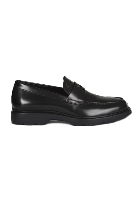 Shop HOGAN Sales Shoes: Hogan Black leather Men's Hogan H304 Loafers. Penny bar. Stamped Hogan monogram. Memory foam insole. Rubber outsole. Made in Italy.. HXM3930X2306Q6-B999