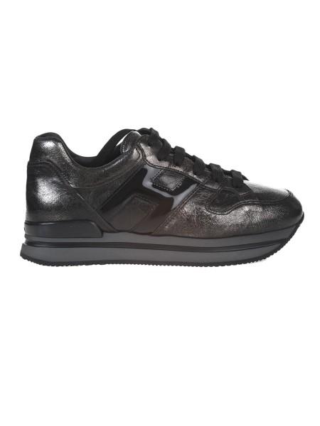 Shop HOGAN Sales Shoes  Hogan H222 metallic craquelé effect leather Sneaker. b0778e73df9