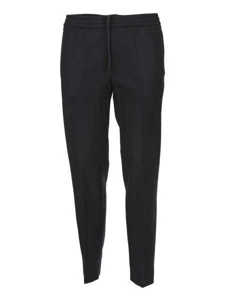 Shop MONCLER Sales Trousers: Moncler Long jogging trousers in wool. Waist point with drawstring. Welt pockets on the sides. Composition: 95% wool, 5% polyamide.. 10512 00 58008-999