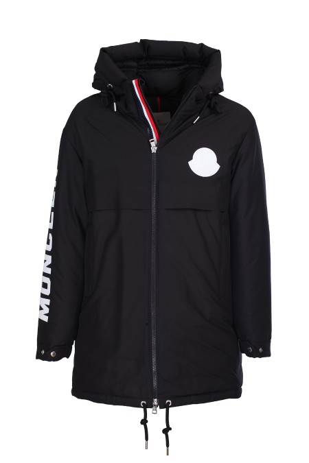 Shop MONCLER  Coat: Moncler parka Charnier padded. Cappuccio. Long sleeves. Die-cast zip closure and three-color heat-sealed technical tape. Pockets with spiral closure. Moncler writing in technical fabric on the left sleeve. Silicone Moncler logo on the left front. Composition: 100% polyester. Filling: 90% down 10% feather.. CHARNIER 42360 05 C0078-999