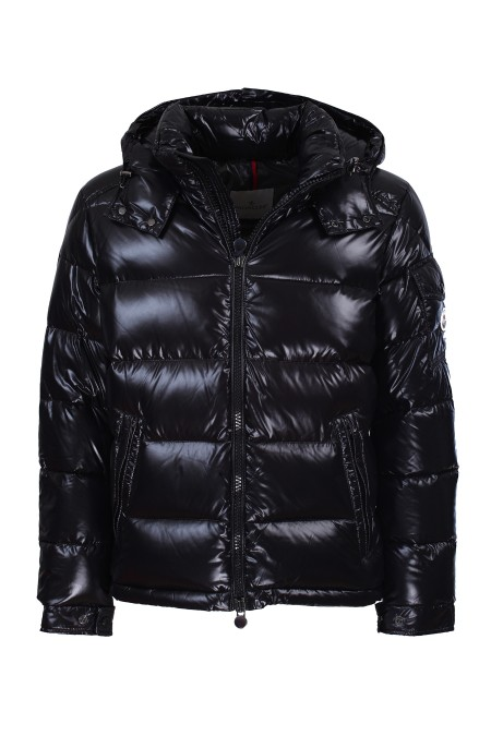 Shop MONCLER  Short Coat: Moncler Maya jacket in lacquered nylon with feather padding. Detachable hood with tone-on-tone enamelled snap buttons. Front closure with die-cast zip. Front pockets with diecast zip. Left sleeve pocket with tone-on-tone enamelled snap buttons. Elastic drawstring in the hood and lower hem. Moncler badge in felt on left sleeve. Inside pocket with spiral zip. Short cut. Composition: 100% polyamide. Filling: 90% down 10% feather.. MAYA 40366 05 68950-999
