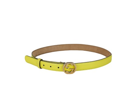 Shop GUCCI  Belt: Gucci yellow belt. Golden double G buckle. Size: width: 2,5cm. Made in Italy.. 370717 AP00G-7209