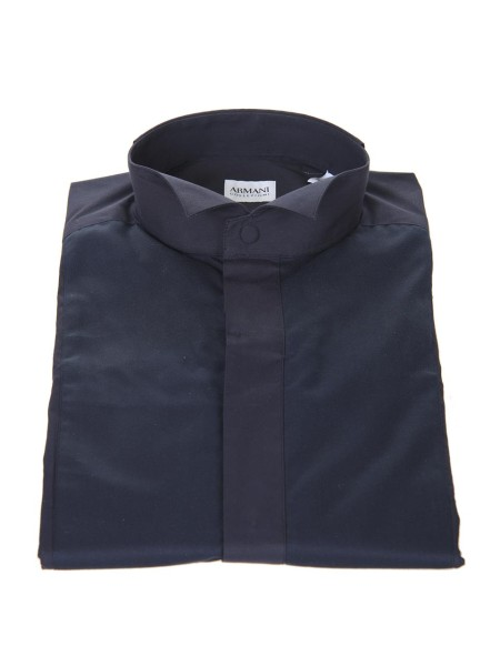 Shop ARMANI COLLEZIONI  Shirt: Armani Collezioni blue tuxedo shirt. Diplomatic collar. Hidden buttoning. Composition: 100% cotton.. TCC51T TCC30-922