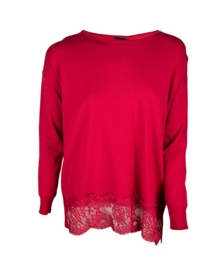 Shop ERMANNO SCERVINO Sales Pullover: Ermanno Ermanno Scervino red sweater with hem in lace.. MG04-705