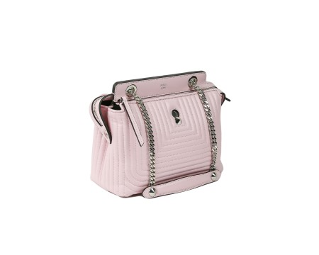 Shop FENDI Sales Bag: Fendi dot com bag in pink leather. Quilted pattern. Two compartments with closing with zip. Shoulder strap in silver chain with pink leather details. Interior removable pochette. Silver trim. Size: width: 24cm; height: 21cm depth: 11cm. Made in Italy.. 8BN299 U9M-F0LN1