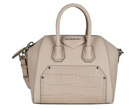 Shop GIVENCHY  Borsa: Givenchy Antigona mini beige in pelle con tracolla rimovibile ed applicazione in stampa coccodrillo. Made in Italy. BB05114528 ANTIGONA-657