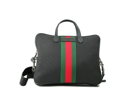 Shop GUCCI  Shoulder Bag: Gucci black briefcase. Red and green central web. Trademark Gucci in black leather. Double handle in black leather. Adjustable and removable shoulder strap in black fabric. Size: width: 37cm; height: 29cm; depth: 6,5cm. Made in Italy.. 387102 KWT7N-1060