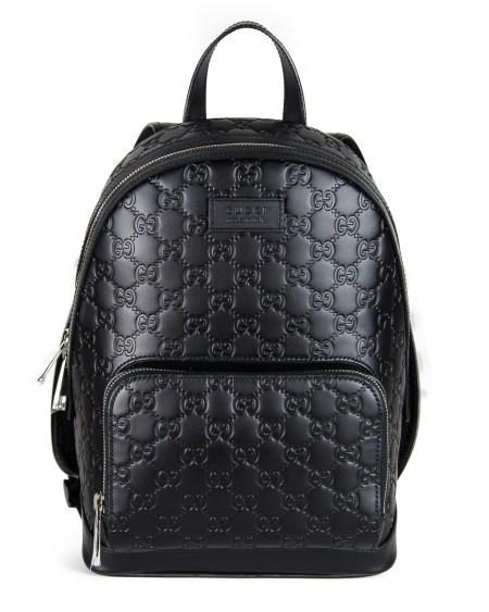 Shop GUCCI  Backpack: Gucci black leather backpack in Gucci signature, back in black net Size: width 22 cm height 30 cm depth 14 cm Made in Italy. 450967 CWCQN-1000