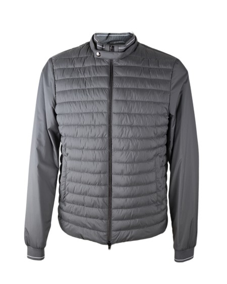 Shop HERNO  Short Coat: Herno grey jacket with central part in down and sleeves in nylon. Waterproof. Chill proof. Breathable. 98% Nylon. 2% Elastan.. PC0031U 19288-9400