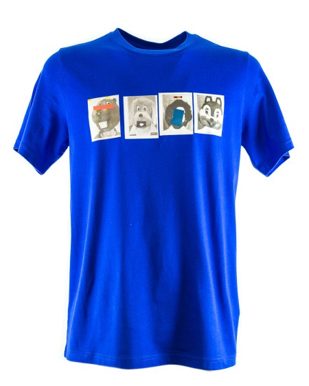 Shop PAUL SMITH Saldi T-shirt: T-shirt Paul Smith blu con motivo sul petto. 100% Cotone.. PSXD011RP10489-I