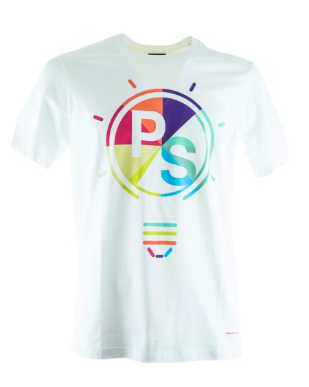 Shop PAUL SMITH Saldi T-shirt: T-shirt Paul Smith bianca con motivo sul petto. 100% Cotone.. PSXD011RP10608-W
