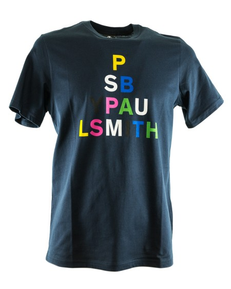 Shop PAUL SMITH Saldi T-shirt: T-shirt Paul Smith blu con motivo sul petto. 100% Cotone.. PSXD011RP10609-N