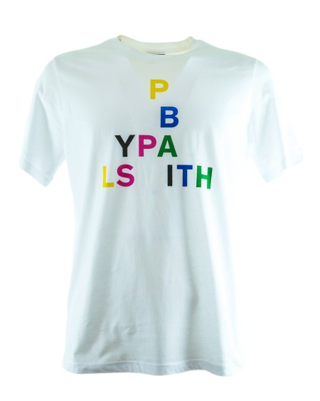 Shop PAUL SMITH Saldi T-shirt: T-shirt Paul Smith bianca con motivo sul petto. 100% Cotone.. PSXD011RP10609-W