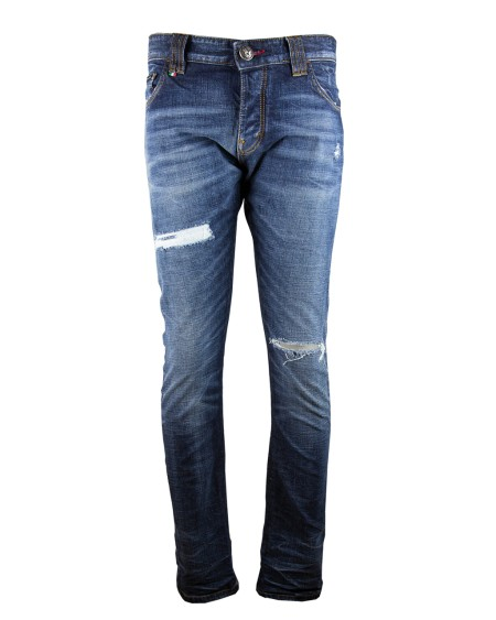 "Shop PHILIPP PLEIN  Jeans: Philipp Plein jeans dritto ""so rock"" . 98% cotone 2% elastane. Made in Italy. S17CMDT0086PDE013N-44WA"