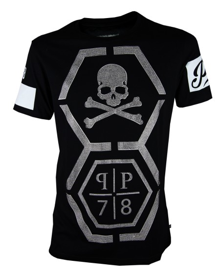 Shop PHILIPP PLEIN  T-shirt: Philipp Plein t shirt girocollo nero con teschio decorato. Made in Italy 100% cotone. S17CMTK0144PJY002N-02