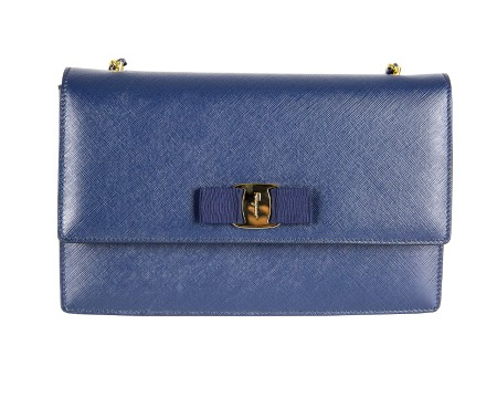 Shop SALVATORE FERRAGAMO  Bag: Salvatore Ferragamo Ginny blue leather bag with bow and gold/blue chain. Made in Italy. 21E480GINNY-014600215