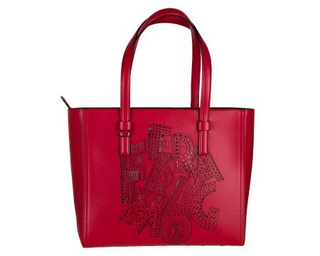 "shop SALVATORE FERRAGAMO  Borsa: Salvatore Ferragamo borsa shopping Tote rossa in pelle con logo perforato ""FERRAGAMO"". Altezza 26,0 cm   Lunghezza 30,0 cm   Larghezza 14,0 cm ""Ferragamo perforated"" Made in Italy. 21G283BONNIE-003660669 number 5284208"