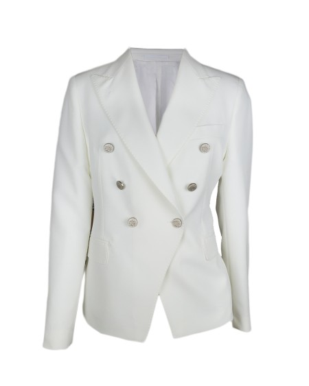 "Shop TAGLIATORE 0205  Jacket: Tagliatore ""J Alicya"" white jacket double-breasted. 88% Polyester. 12% Elastan. Made in Italy. J ALICYA 83002-X1406"
