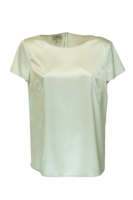 Shop ARMANI COLLEZIONI  T-shirt: Armani Collezioni silk t-shirts. Round neckline. Short sleeves. Back drop closure with button. Composition: 94% silk 6% elastane.. VMC05T VM301-125